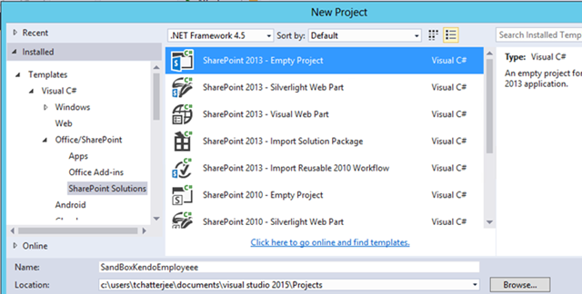 Create a Custom SharePoint Webpart will have Kendo grid to