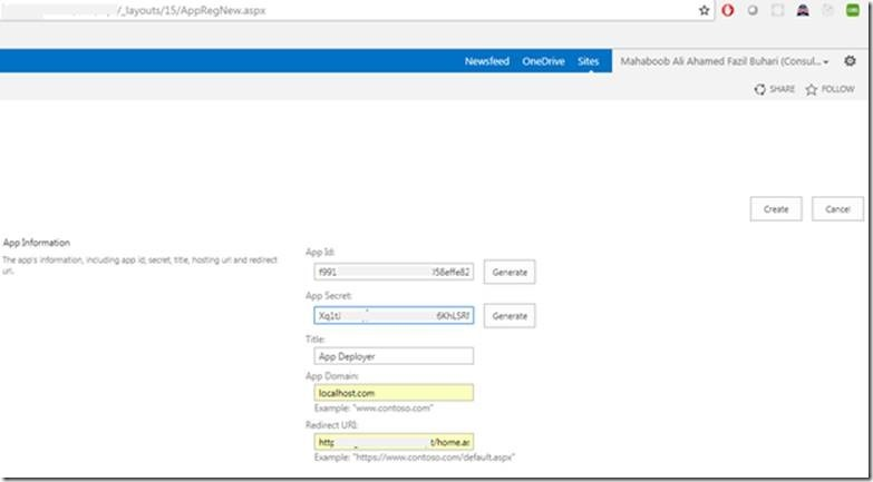 How to generate App ID & Secret key to access SharePoint