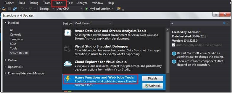 Create and Debug Azure Function using Visual Studio 2017 – Part 1