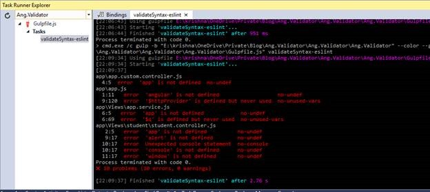 Automate Angular Js / Javascript code analysis with EsLint