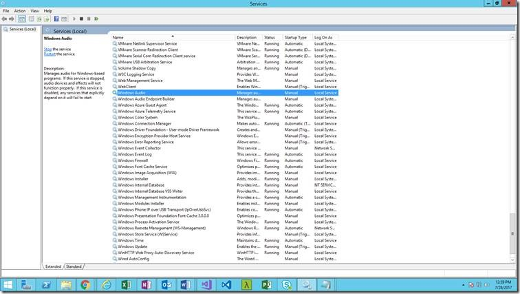The Audio Service is not running – Azure VM - Remote Desktop