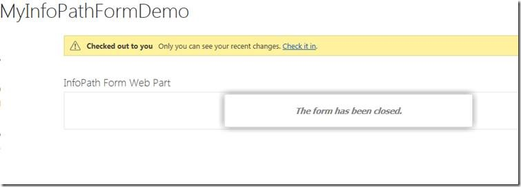 SharePoint 2013 - InfoPath WebPart – Redirect to home page