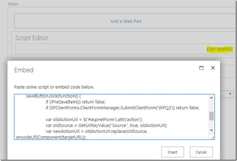 Redirect to custom page from SharePoint OOTB Form button