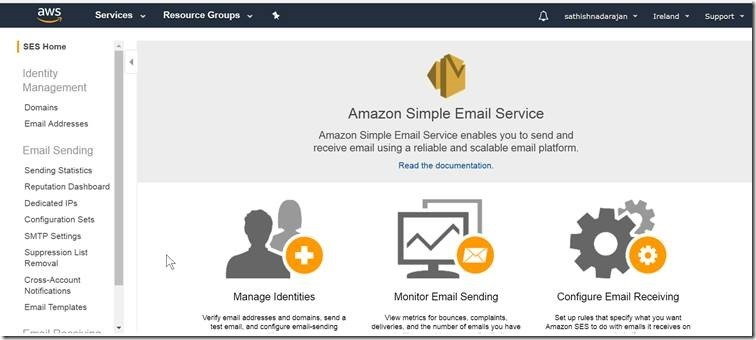 How to Send mail using Simple Email Services (SES) using