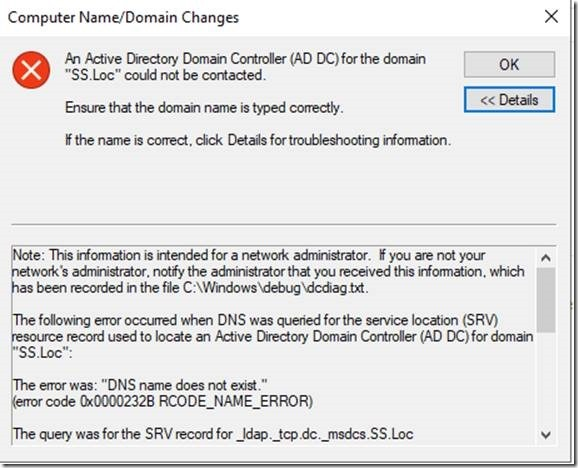Exception: An Active Directory Domain Controller (AD DC) for