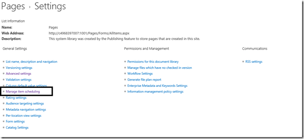 How to Enable ItemScheduling for Pages Library in SharePoint 2013